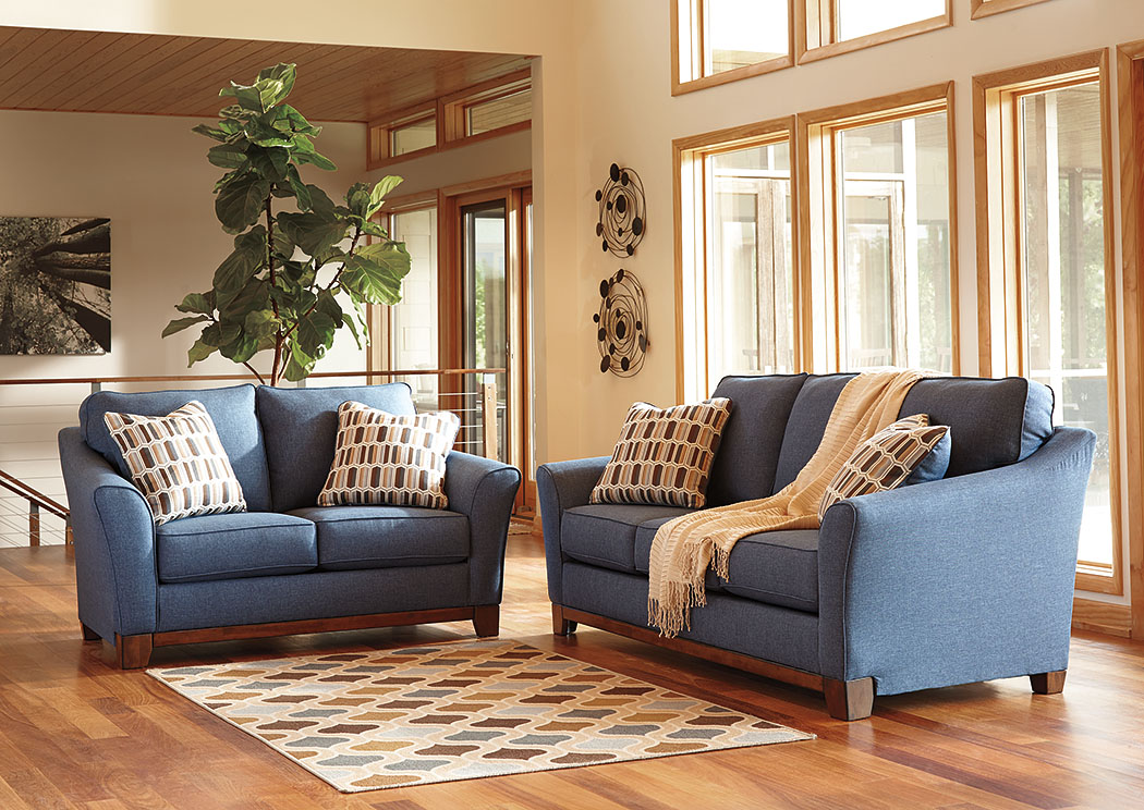 Kemper Sales Janley Denim Sofa And Loveseat