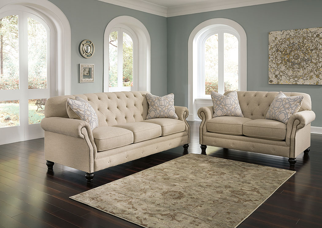 Perfect Kieran Natural Sofa And Loveseat,Signature Design By Ashley