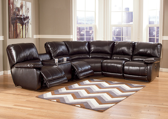 Capote DuraBlend Chocolate Left Facing Reclining Power Sectional,Signature Design by Ashley