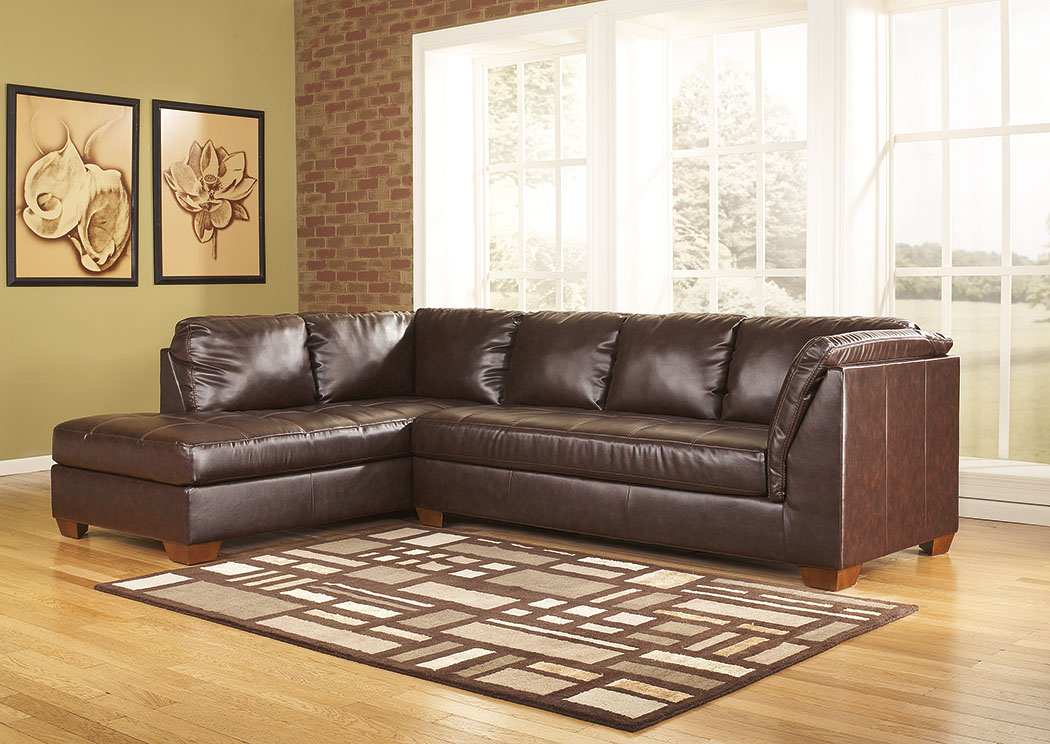 DuraBlend Mahogany Left Facing Chaise Sectional,Signature Design by Ashley