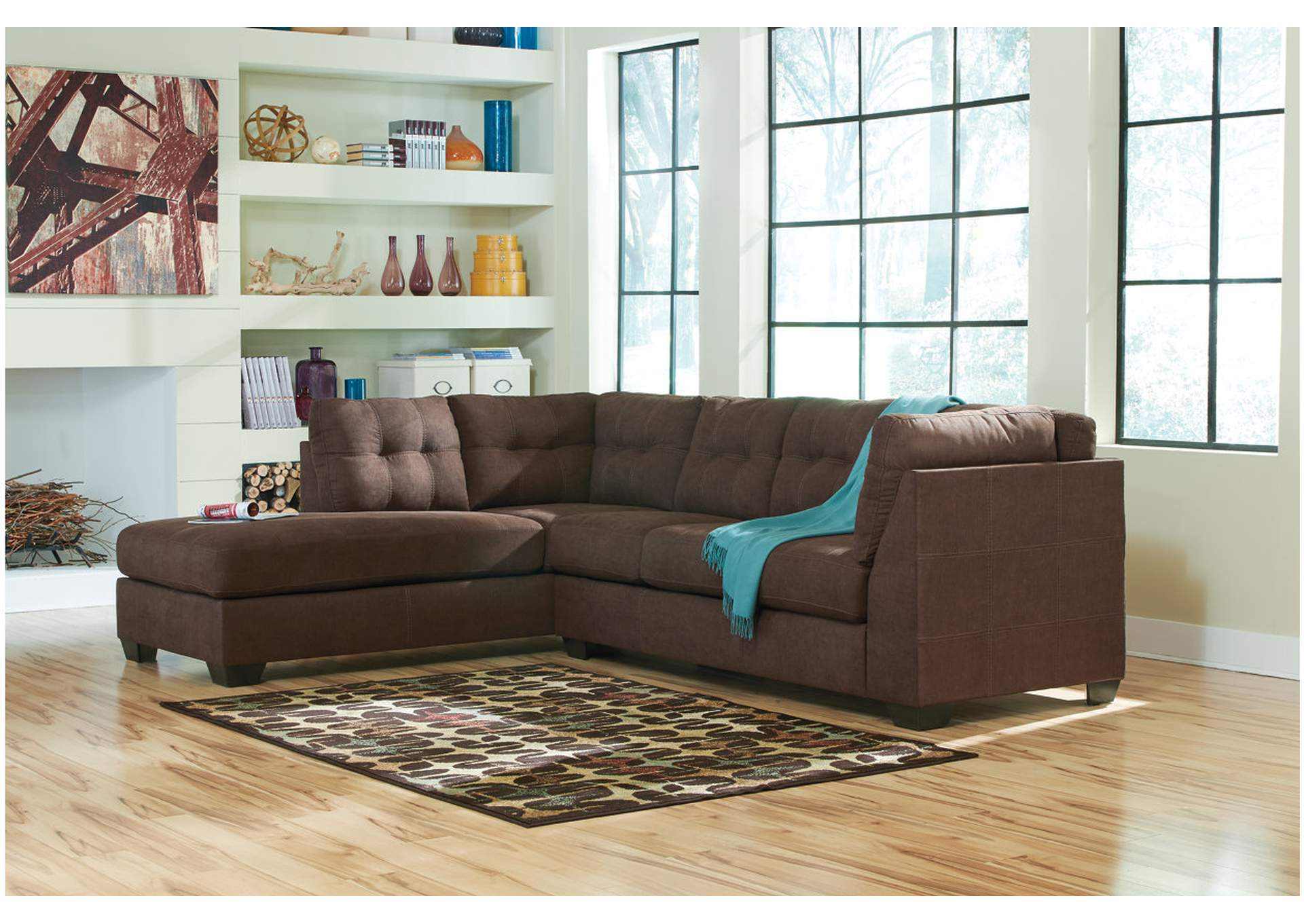 Maier Walnut Left Arm Facing Chaise End Sectional,ABF Benchcraft