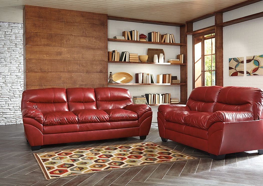 Alabama Furniture Market Tassler Durablend Crimson Loveseat And Sofa