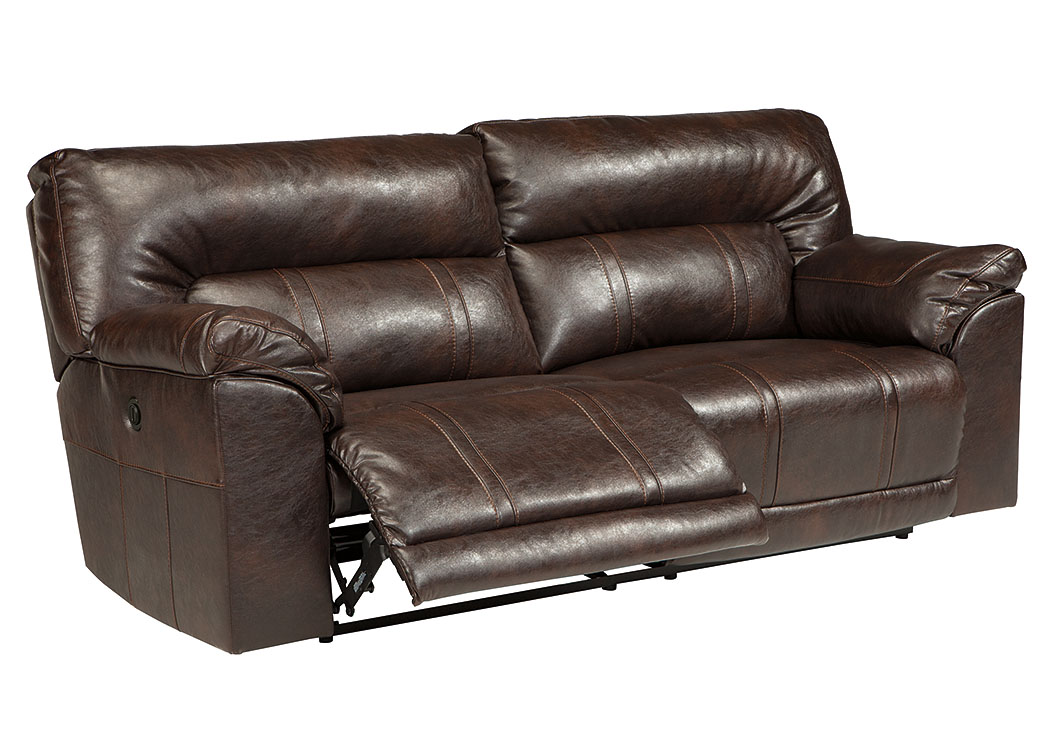 Major Discount Furniture Barrettsville Durablend Chocolate 2 Seat Reclining Power Sofa
