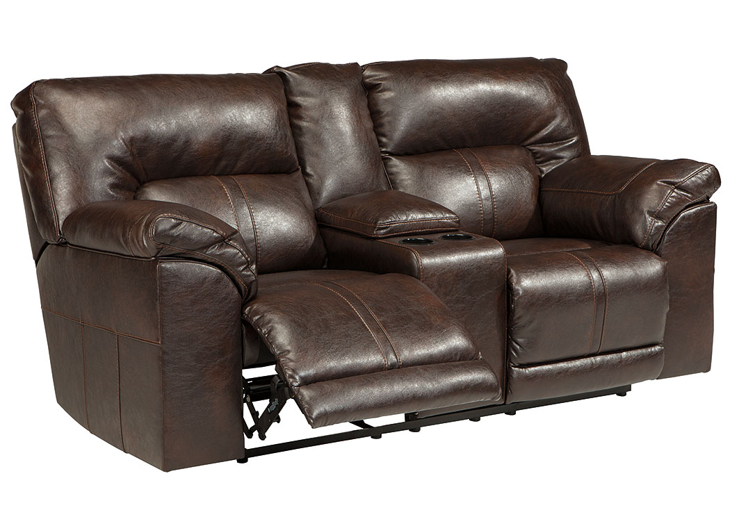 Furniture World Nw Barrettsville Durablend Chocolate Double Reclining Power Loveseat W Console
