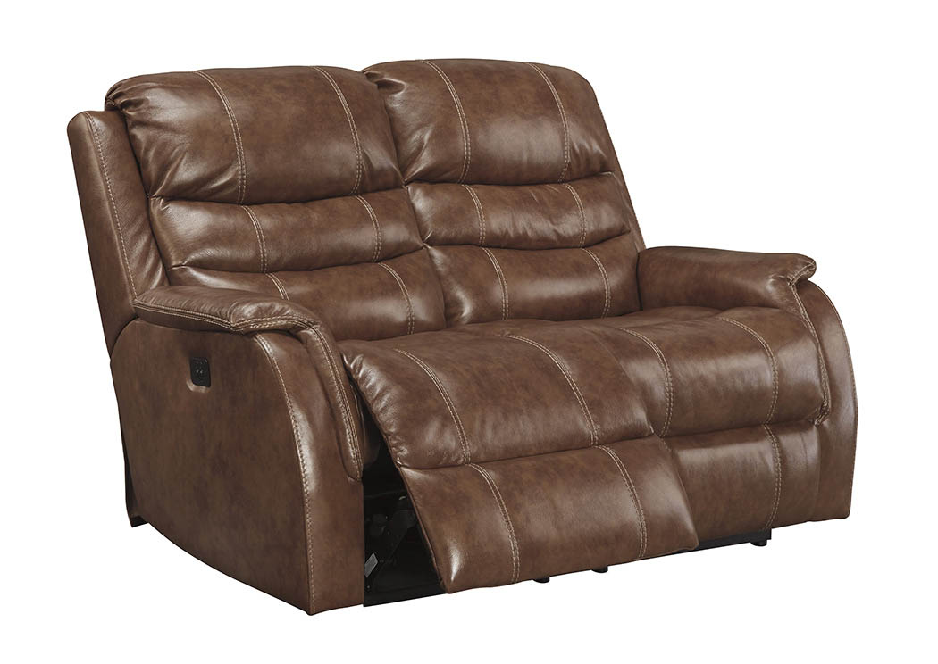 Furniture world nw metcalf nutmeg power recliner loveseat w adjustable headrest Power loveseat recliner