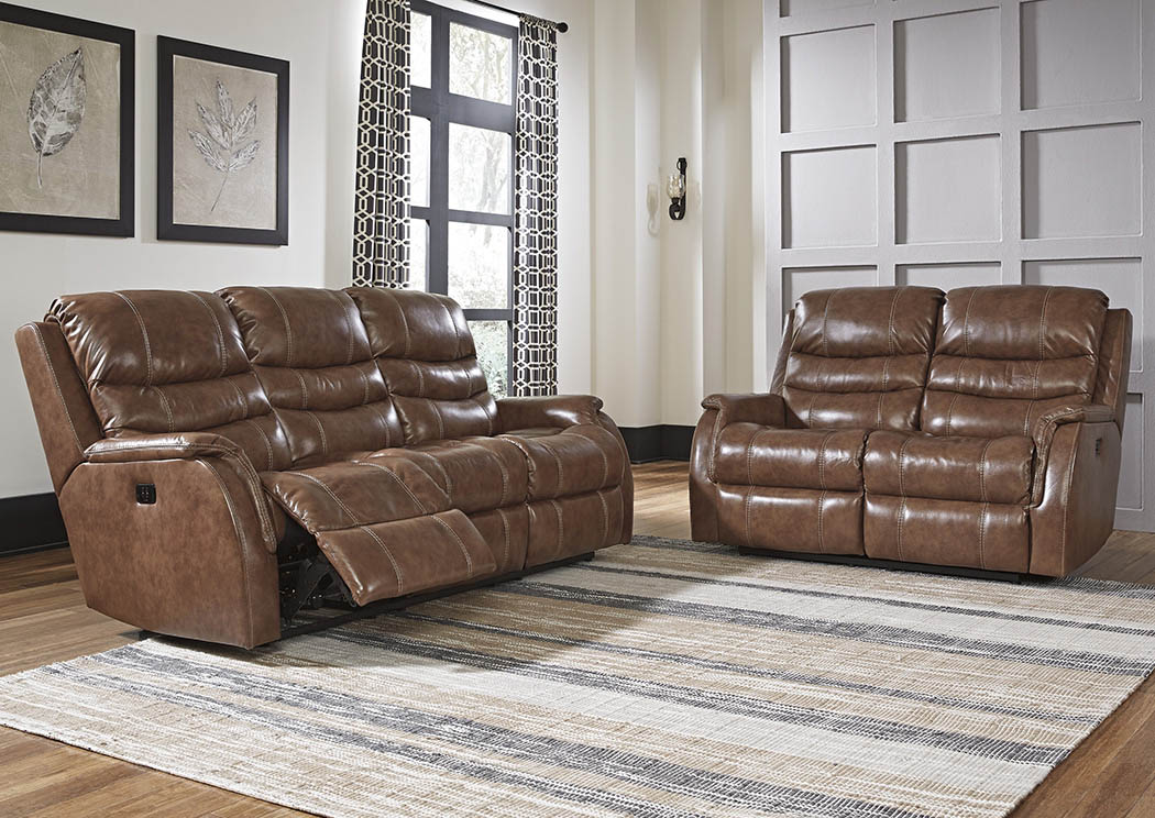 Metcalf Nutmeg Power Reclining Sofa & Loveseat,Signature Design By Ashley