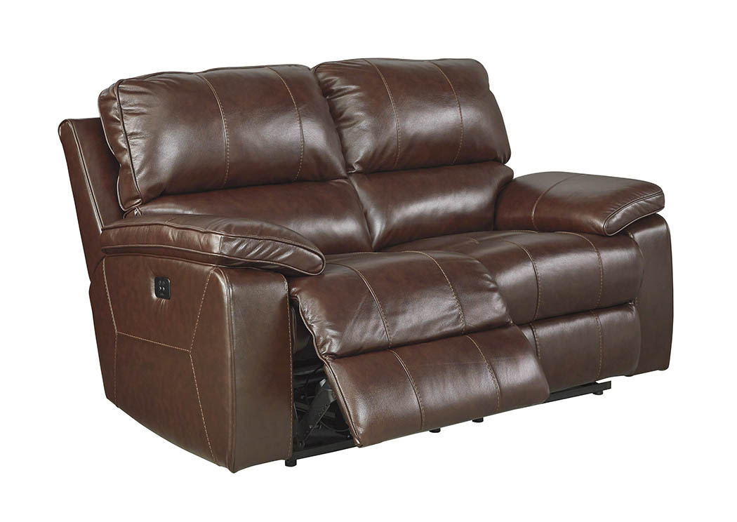 Transister Coffee Power Reclining Loveseat w/Adjustable Headrest,Signature Design By Ashley