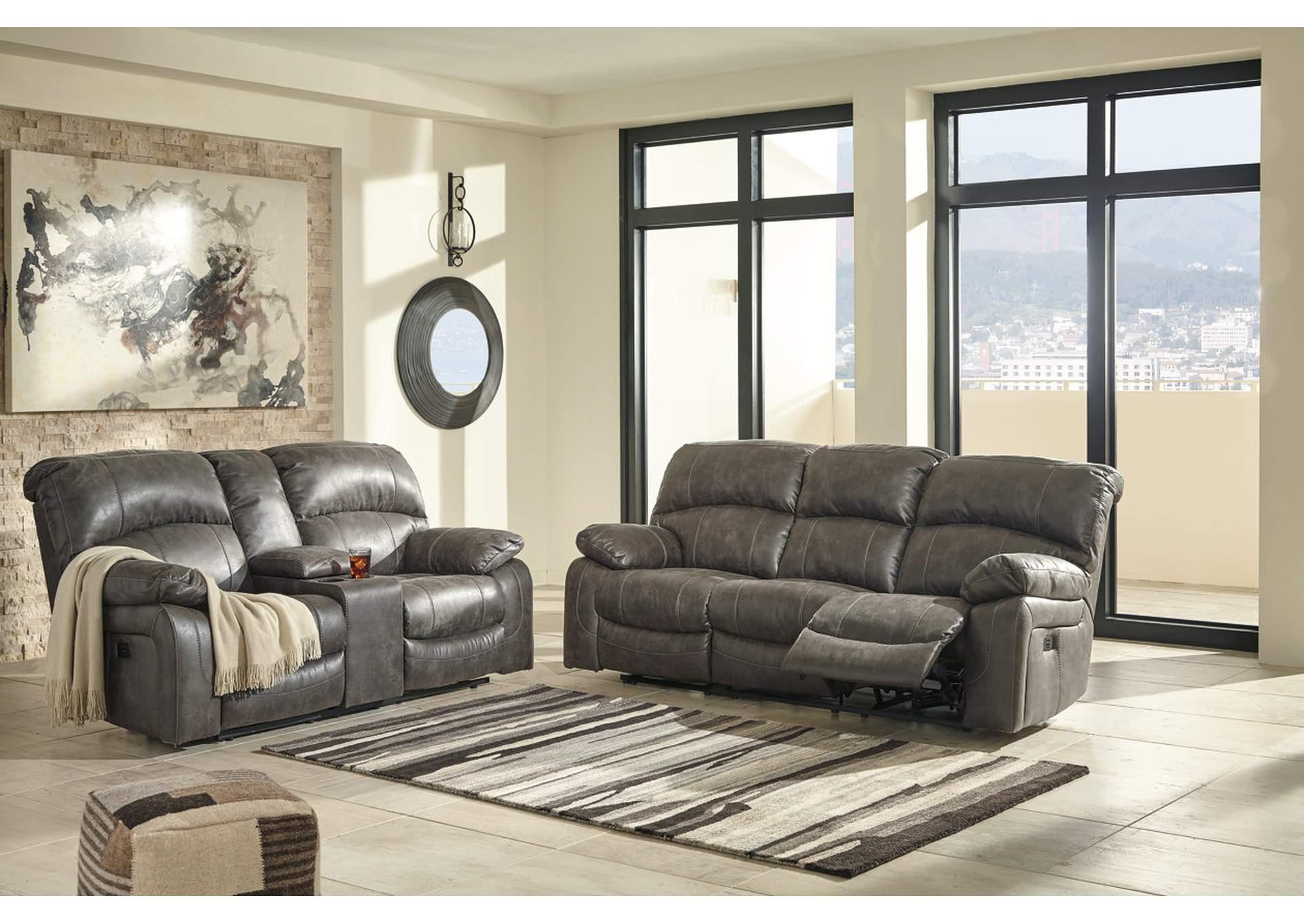 Harlem Furniture Dunwell Steel Power Reclining Sofa Loveseat