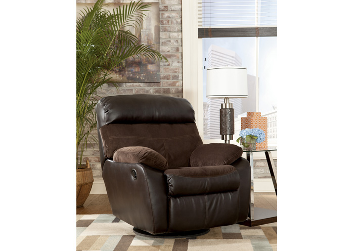Berneen Coffee Swivel Rocker Recliner,Signature Design By Ashley