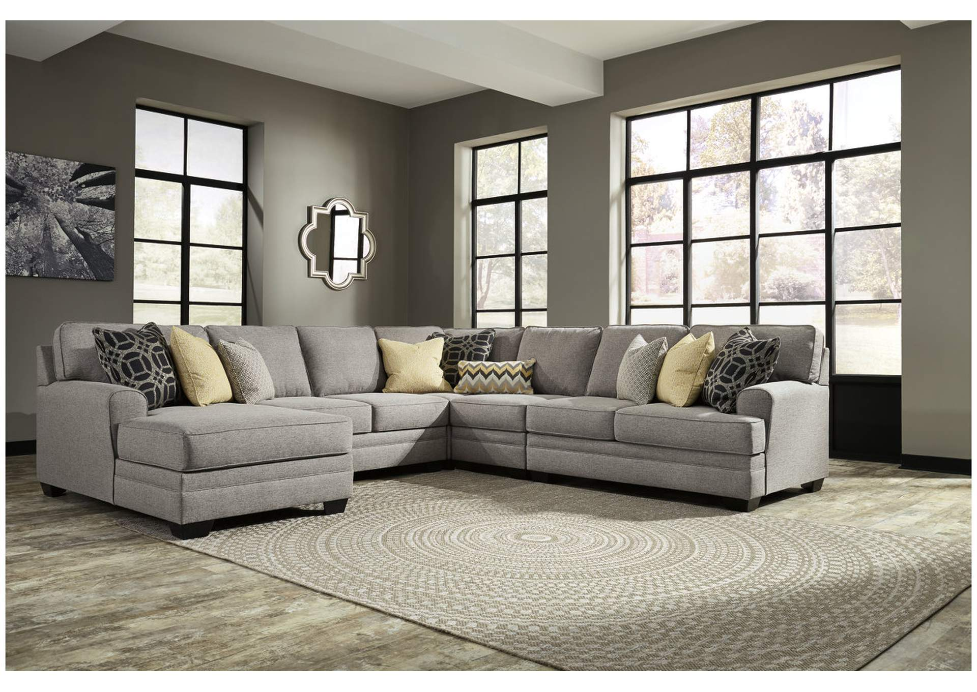 Xlnc Furniture Cresson Pewter Left Facing Corner Chaise Extended Loveseat Sectional