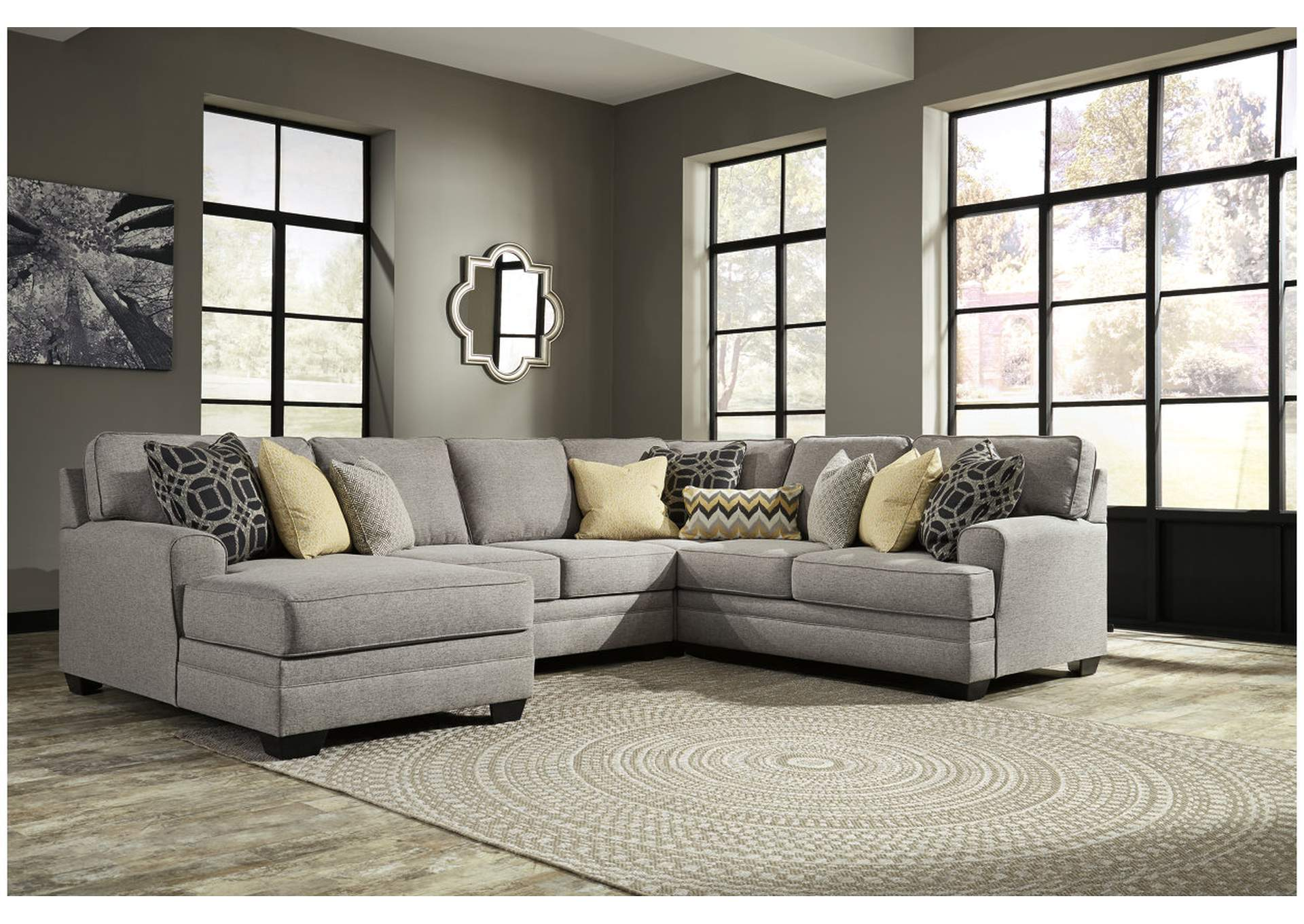 Brothers Fine Furniture Cresson Pewter Left Facing Corner Chaise Loveseat  Sectional