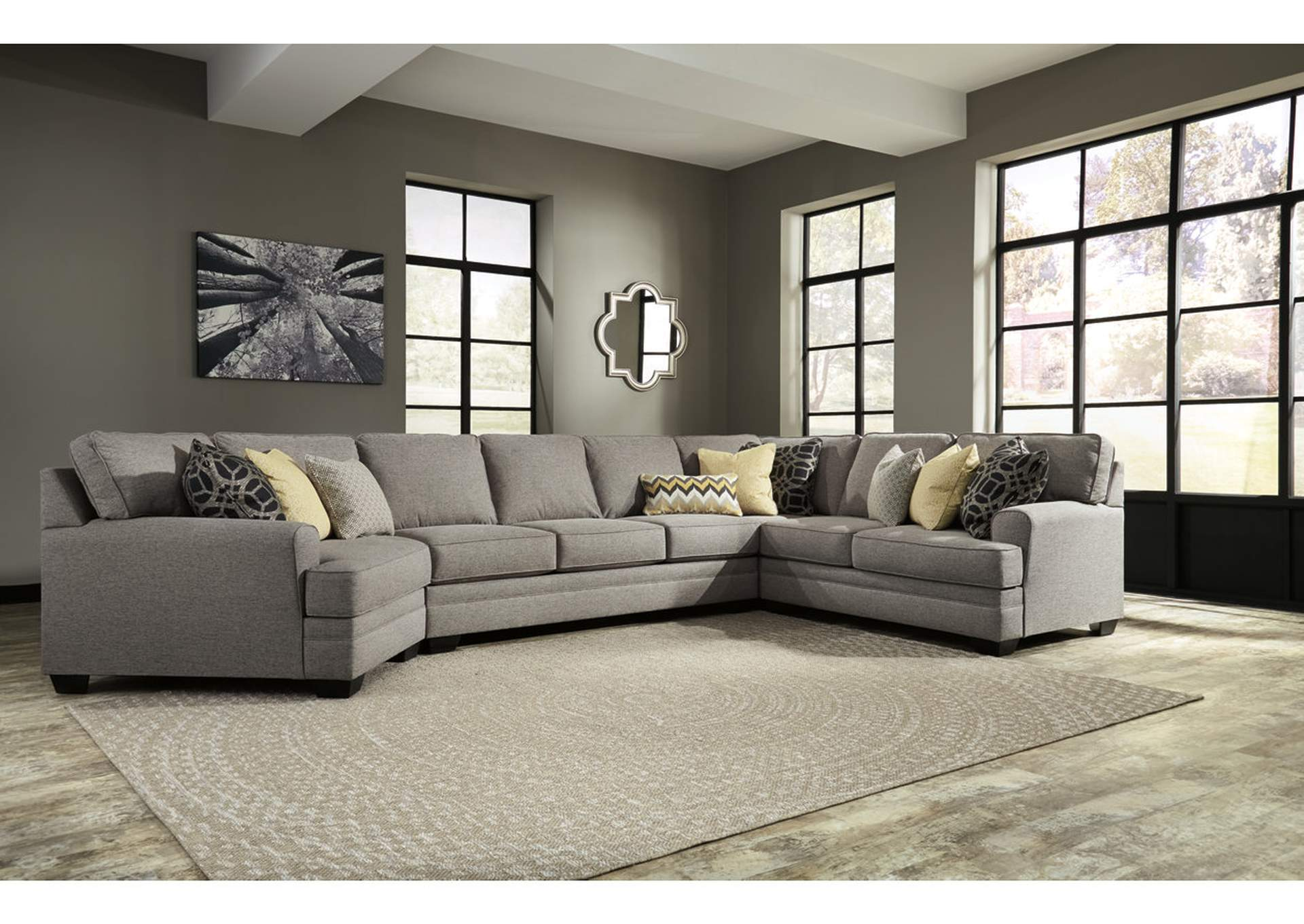 Regal House Furniture Outlet   New Bedford, MA Cresson Pewter Left Facing  Cuddler Loveseat Sectional