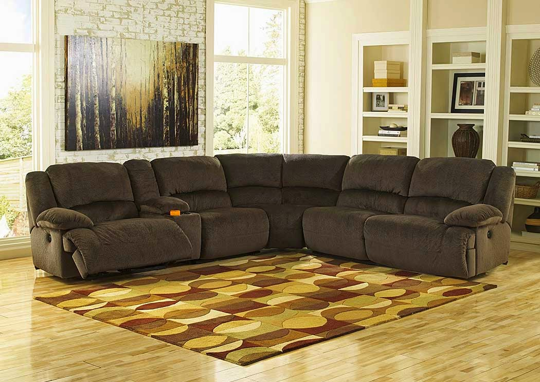 Toletta Chocolate Reclining Sectional,Signature Design by Ashley