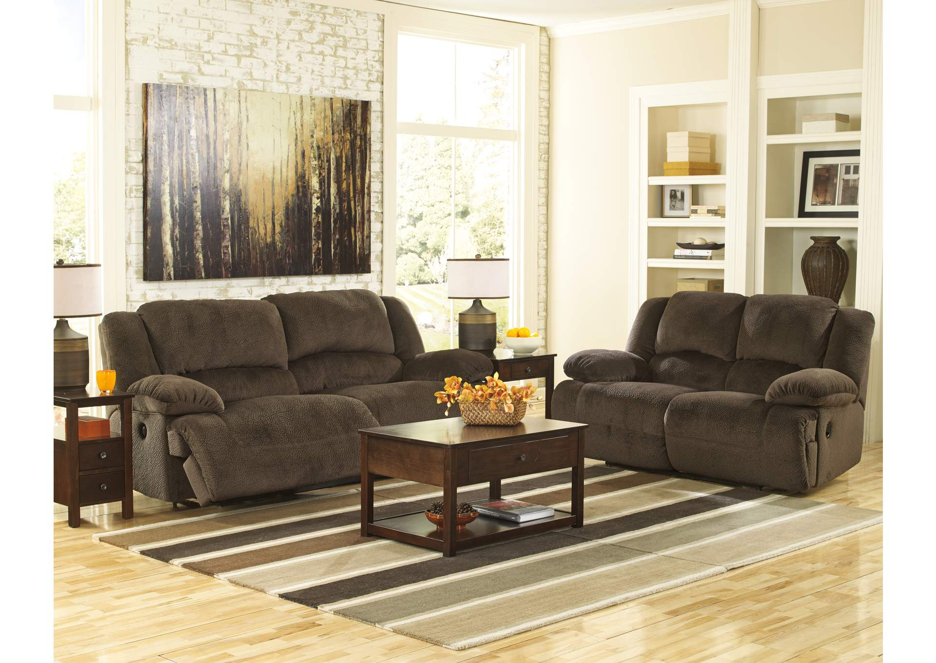 Toletta Chocolate Reclining Sofa & Loveseat,Signature Design by Ashley