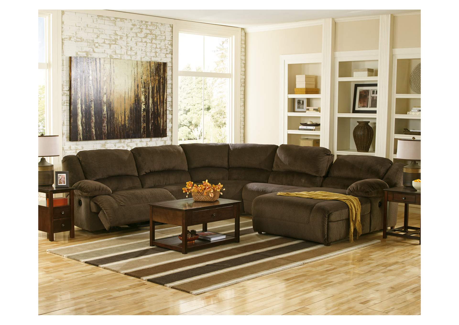 Toletta Chocolate Right Facing Chaise End Reclining Sectional,Signature Design by Ashley