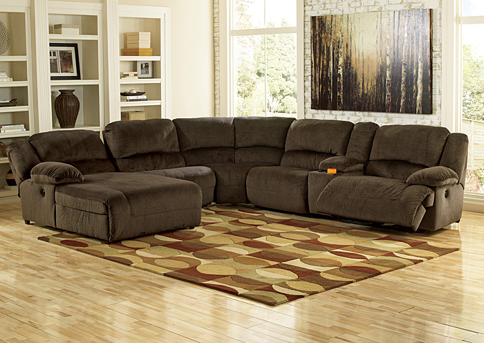 Toletta Chocolate Left Facing Chaise End Power Reclining Sectional w/Storage Console : sectional sofas with electric recliners - Sectionals, Sofas & Couches