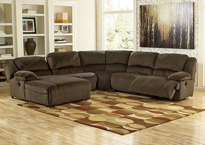 Furniture world nw toletta chocolate left facing chaise for Sectional sofa with reclining ends