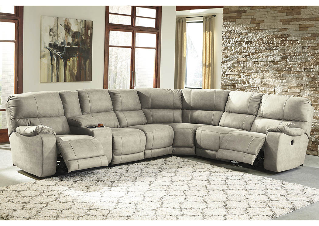 Bohannon Putty Left Facing Sectional w/Armless Chair and Right Facing Power Reclining Loveseat,Benchcraft