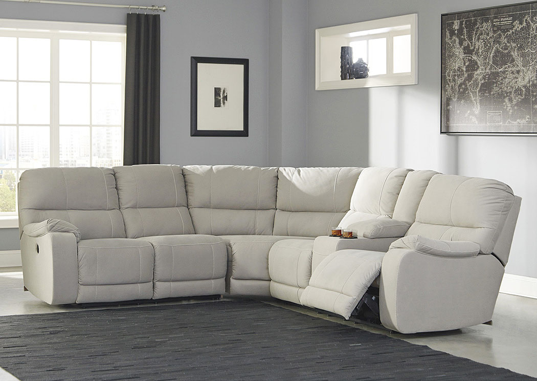 Bohannon Putty Left Facing Sectional w/Right Facing Power Reclining Loveseat,Benchcraft