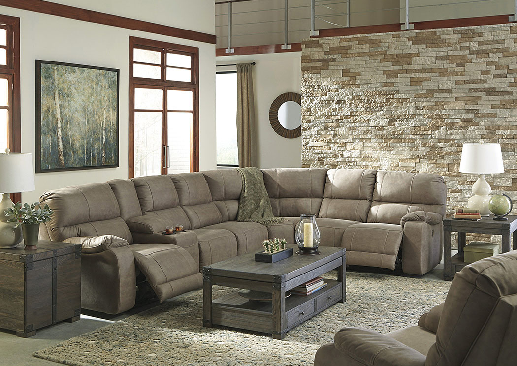 Bohannon Taupe Left Facing Sectional w/Right Facing Power Reclining Console Loveseat and Rocker Recliner,Benchcraft