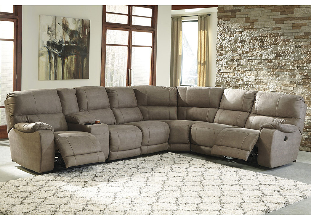 Bohannon Taupe Left Facing Sectional w/Right Facing Power Reclining Loveseat,Benchcraft