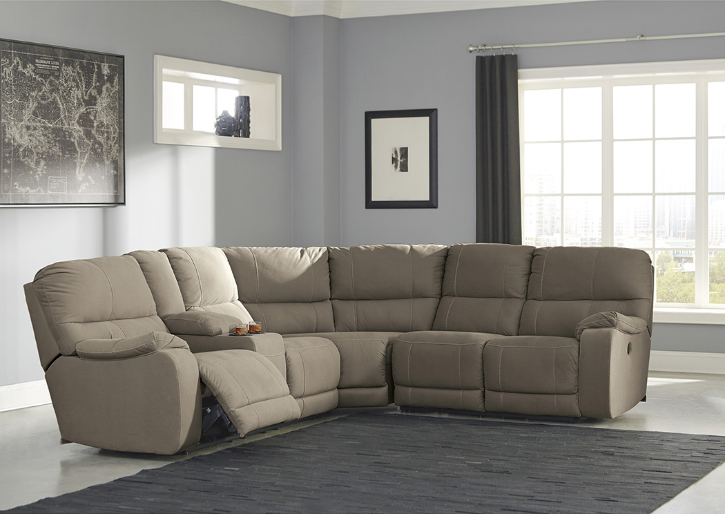 Bohannon Taupe Left Facing Double Power Reclining Loveseat Sectional w/Console,Benchcraft