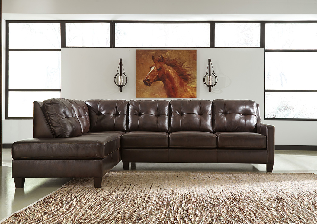 O'Kean Mahogany Left Facing Corner Chaise Sectional,Signature Design By Ashley
