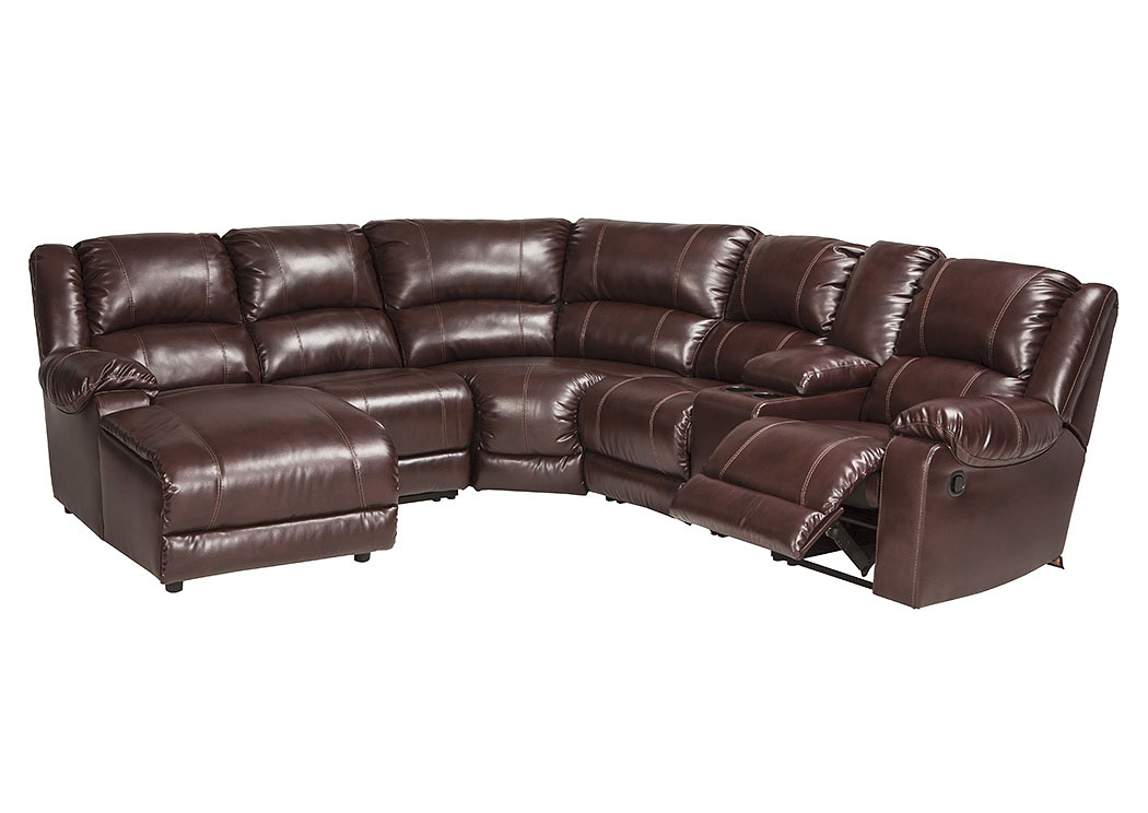 MacGrath DuraBlend Mahogany Left Facing Corner Chaise Sectional W/Console  And Storage,Signature Design