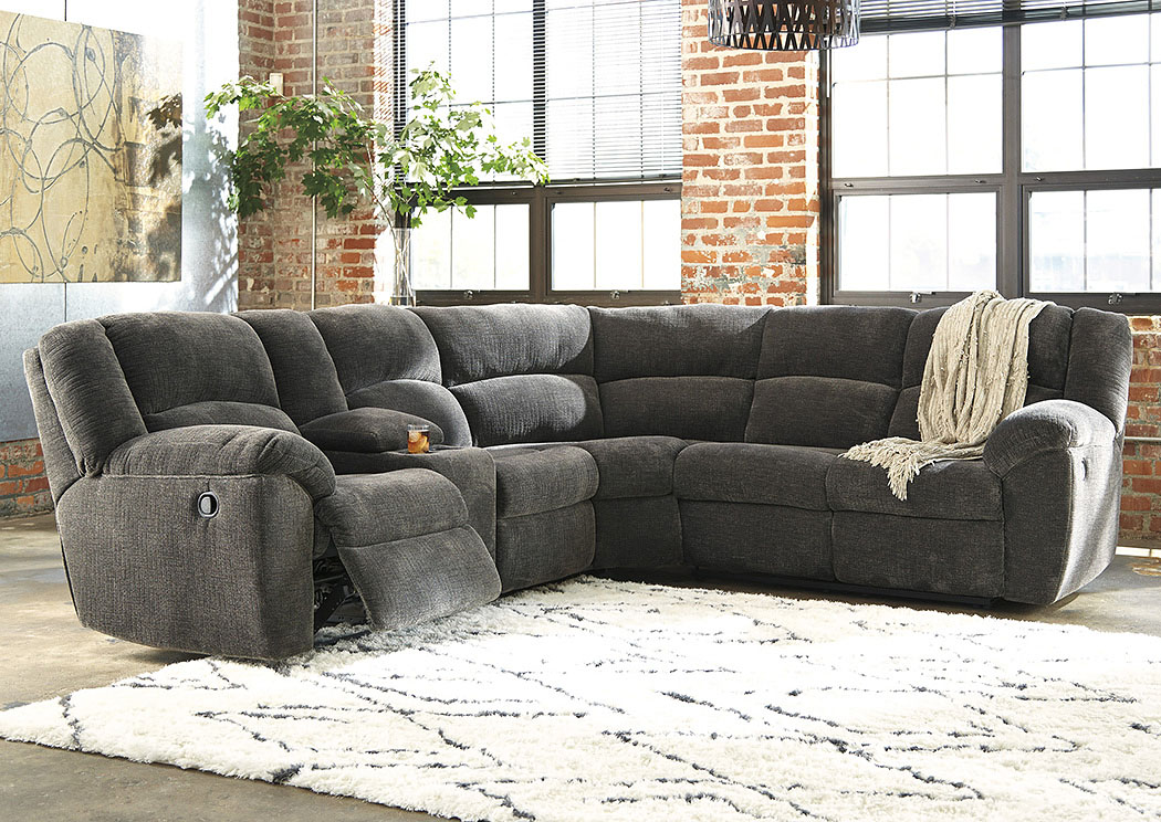 Timpson Slate Left Facing Double Reclining Loveseat Sectional w/Console,Benchcraft