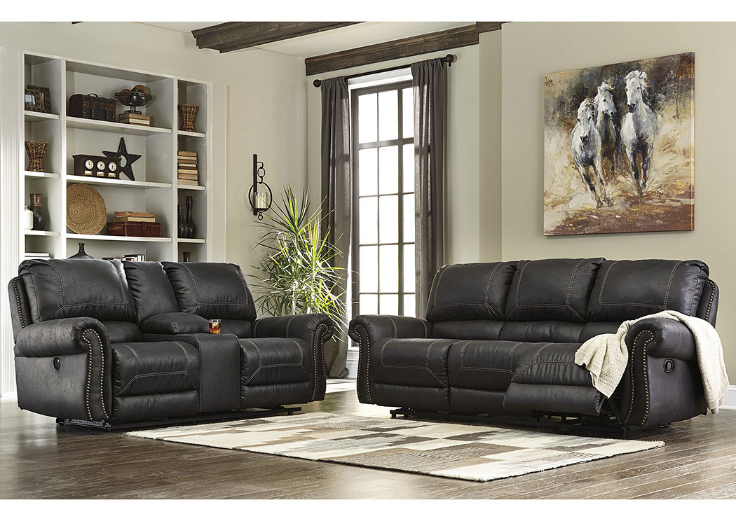Curly's Furniture Milhaven Black Reclining Sofa And Loveseat W/Console