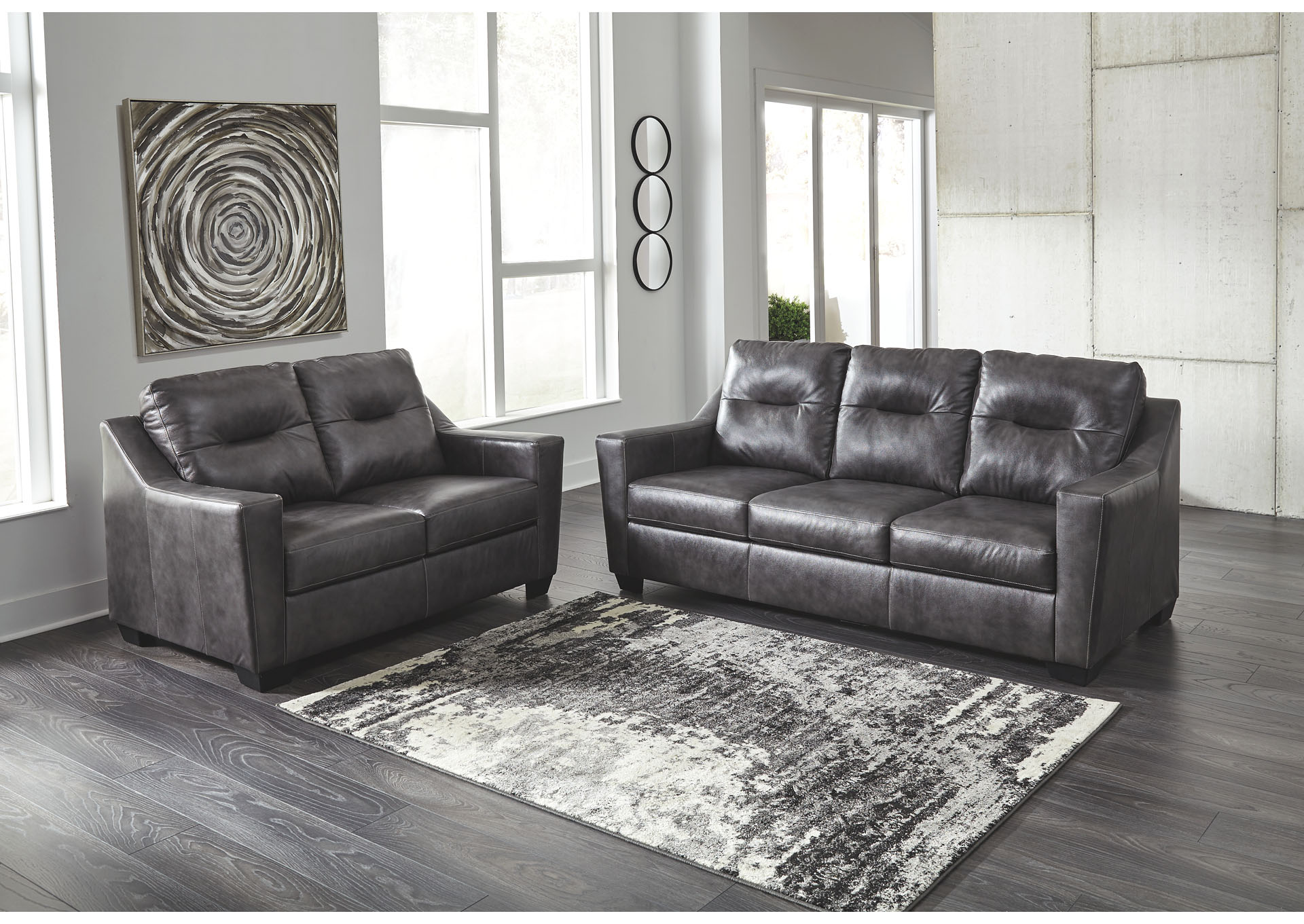Kensbridge Charcoal Sofa and Loveseat,Signature Design by Ashley