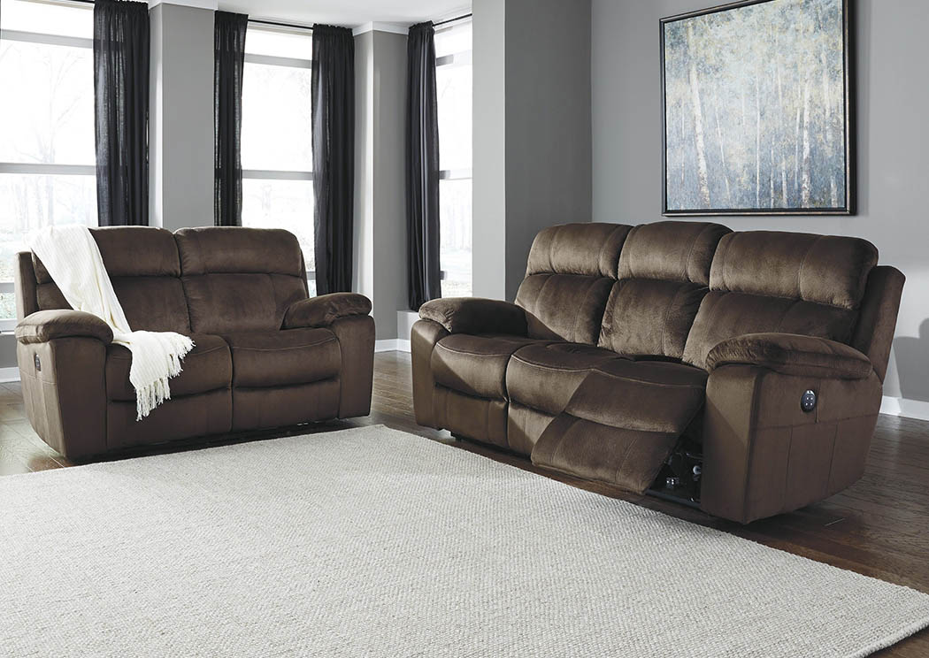 Roses Flooring And Furniture Uhland Chocolate Power Reclining Sofa And Loveseat W Adjustable