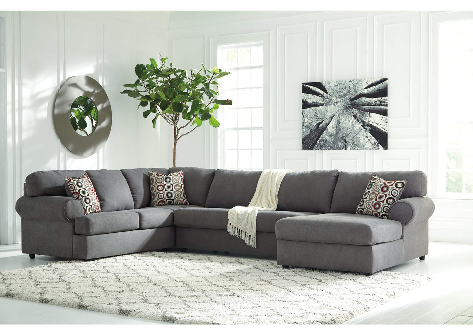 St germain 39 s furniture jayceon steel extended right for Albany st germain sectional sofa chaise
