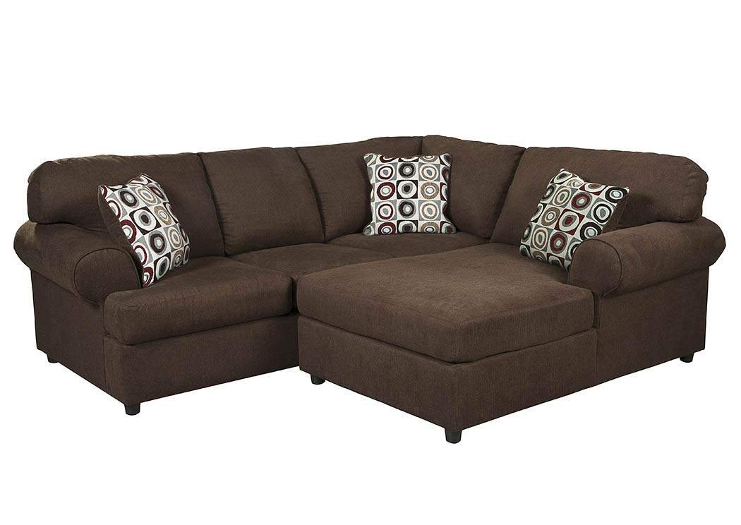 Catalog outlet inc jayceon java right facing chaise end for Brown leather chaise end sofa