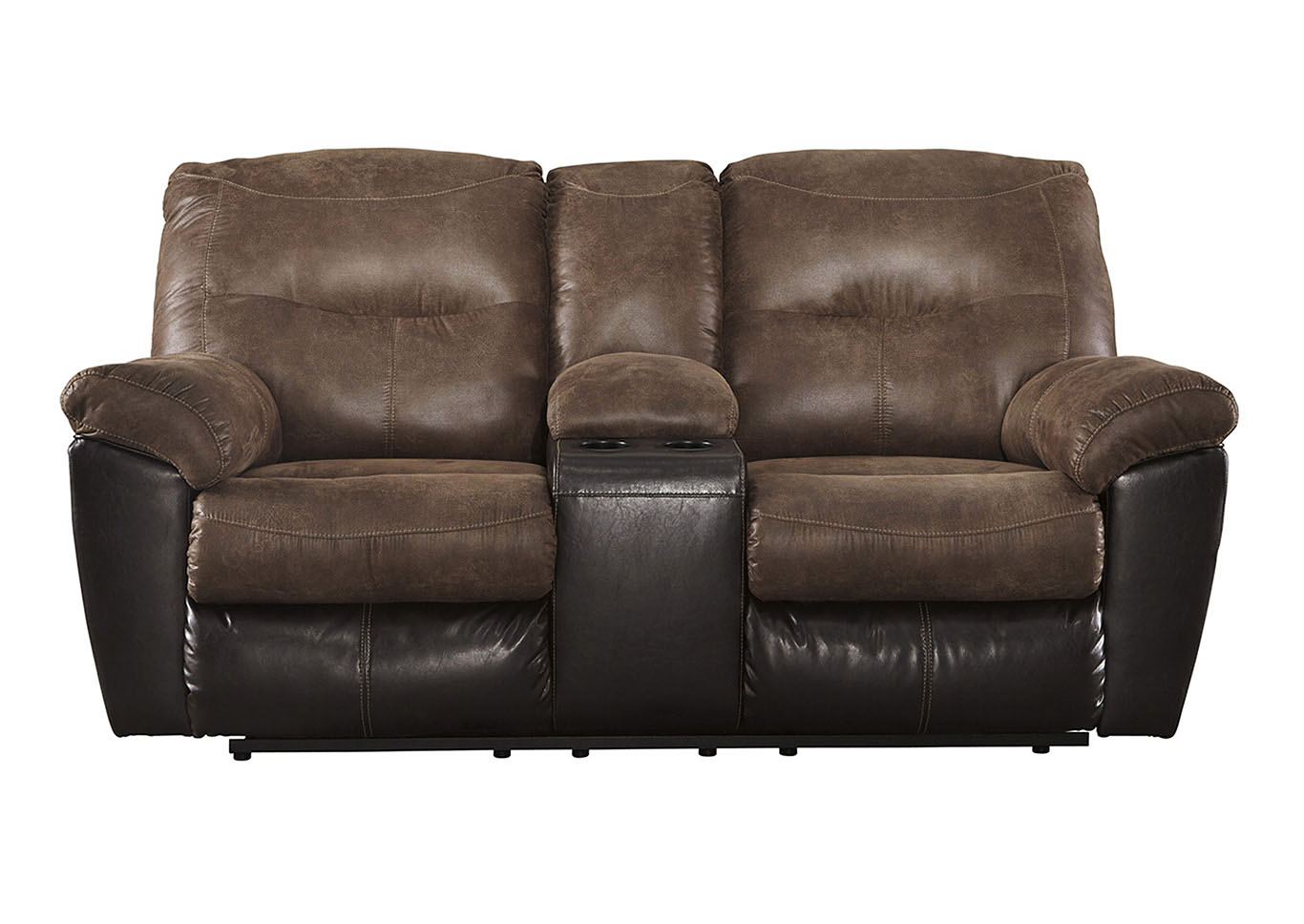 Jarons Follett Coffee Double Reclining Loveseat W Console