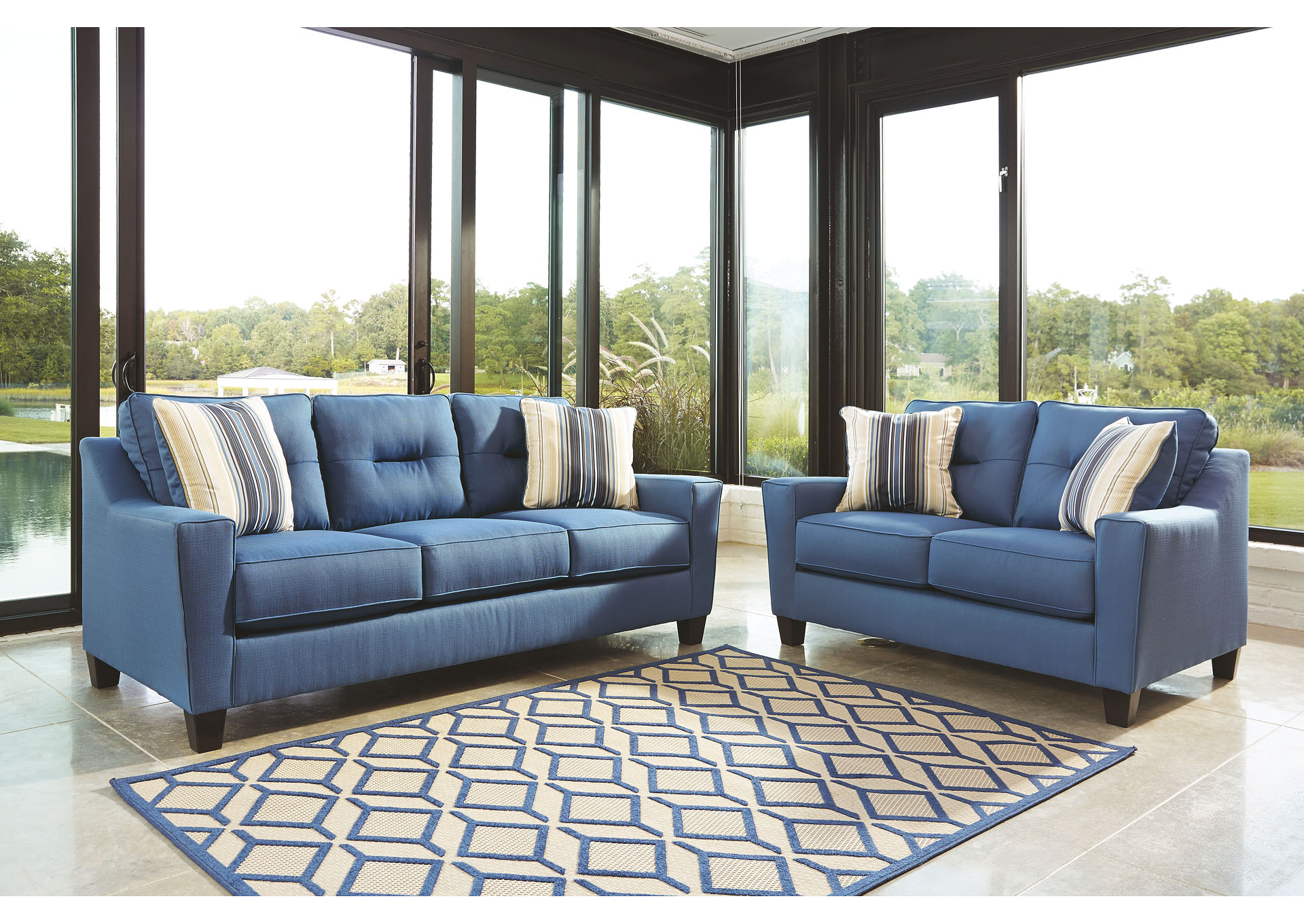 281314 Forsan Nuvella Blue Sofa and Loveseat