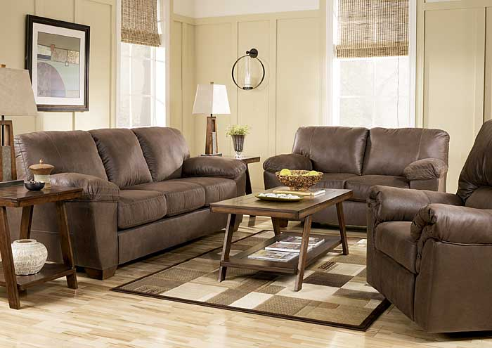 Amazon Walnut Sofa, Loveseat, & Recliner,Signature Design by Ashley