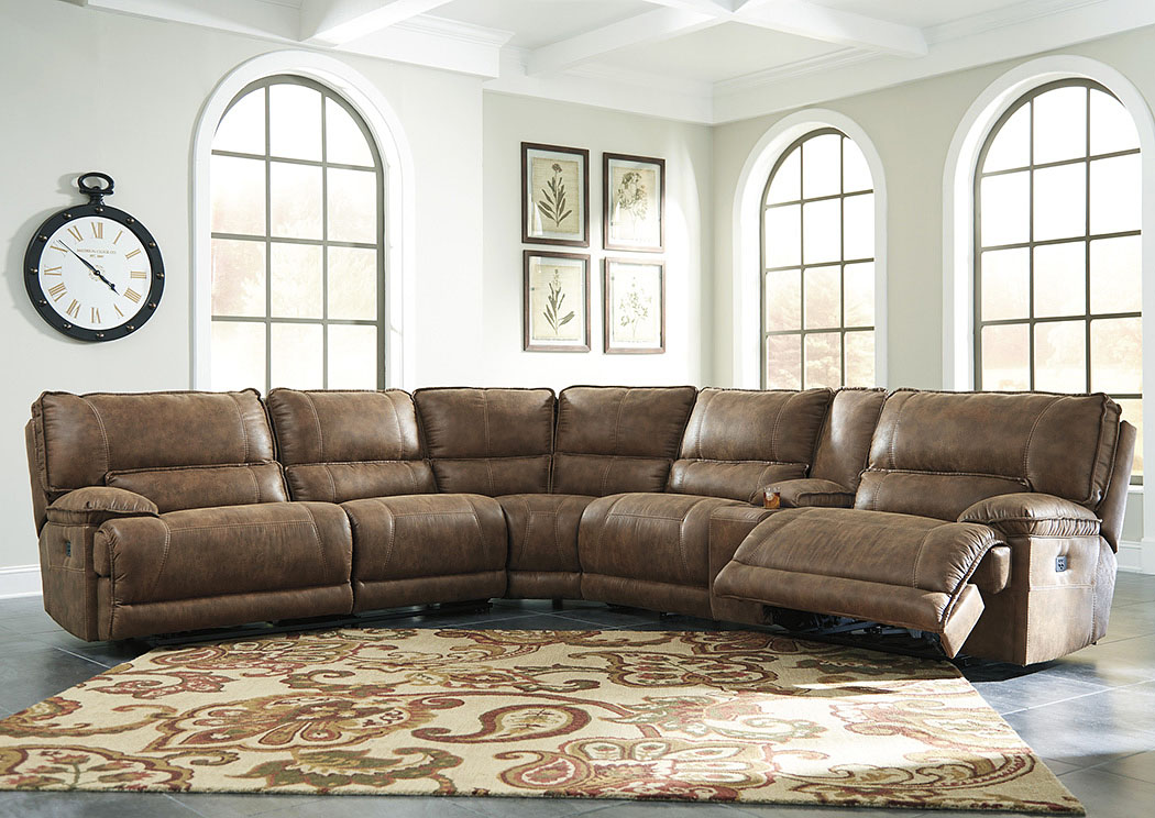 Grattis Saddle Zero Wall Power Recliner Sectional w/Storage Console,Signature Design By Ashley