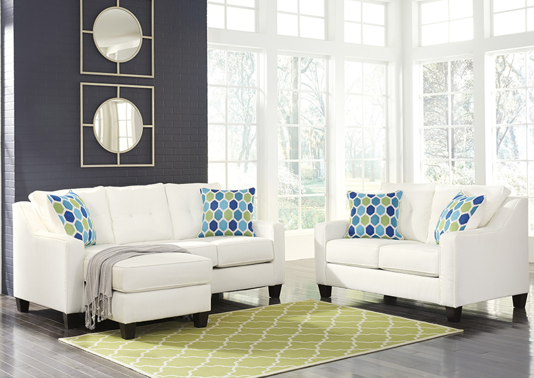Aldie Nuvella White Sofa Chaise and Loveseat,Benchcraft