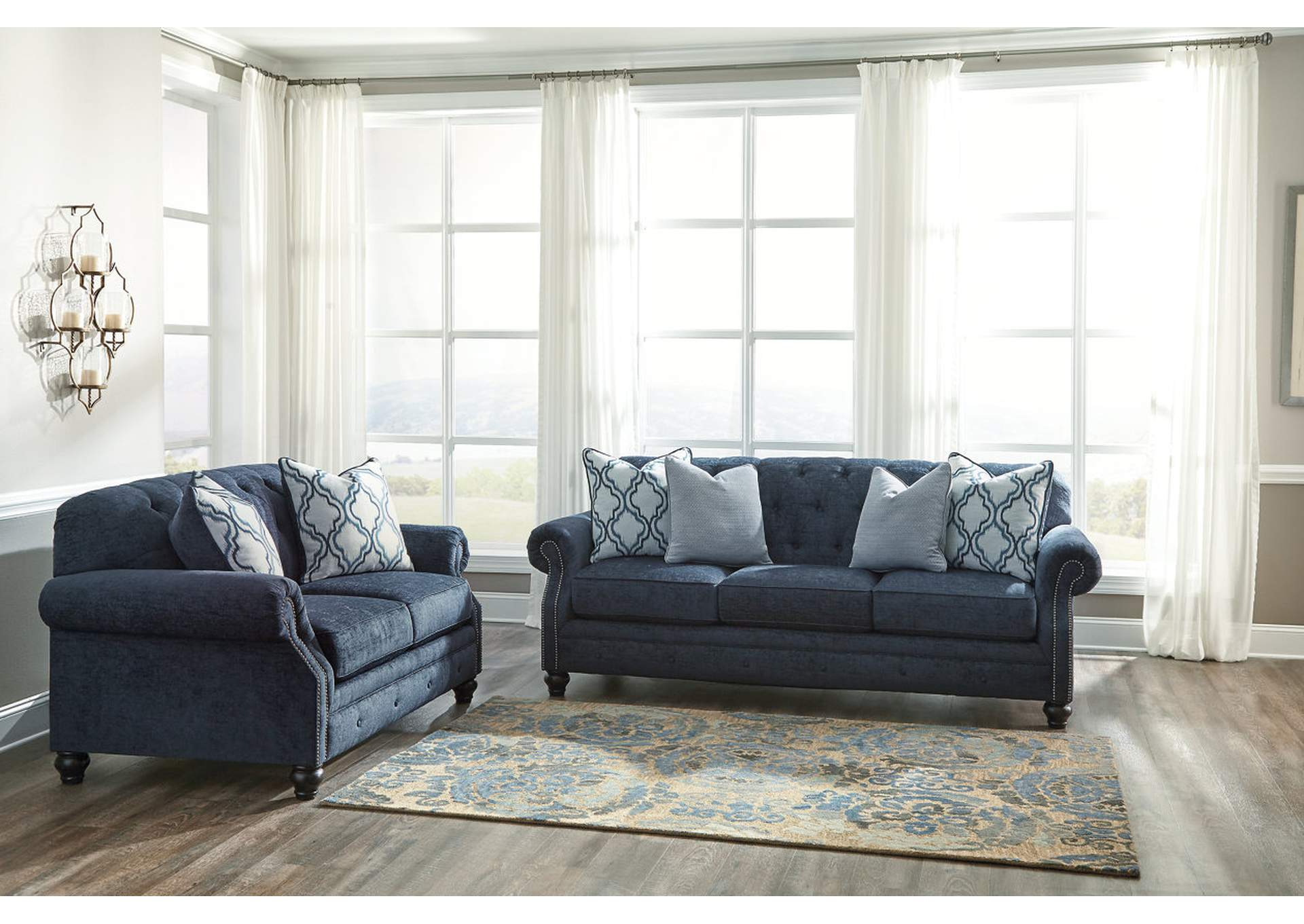 Roses flooring and furniture lavernia navy sofa and loveseat Ashley couch and loveseat