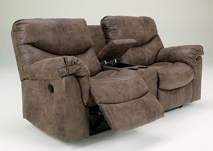 Alzena Gunsmoke Double Reclining Loveseat w/Console,Signature Design By Ashley