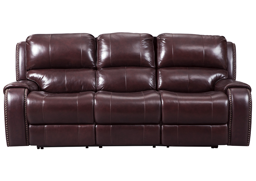 Furniture Liquidators Home Center Gilmanton Burgundy Power Reclining Sofa  W/Adjustable Headrest