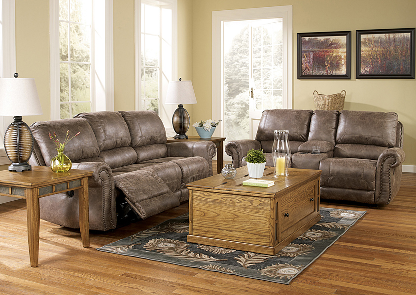 Oberson Gunsmoke Power Reclining Sofa & Loveseat,Signature Design By Ashley