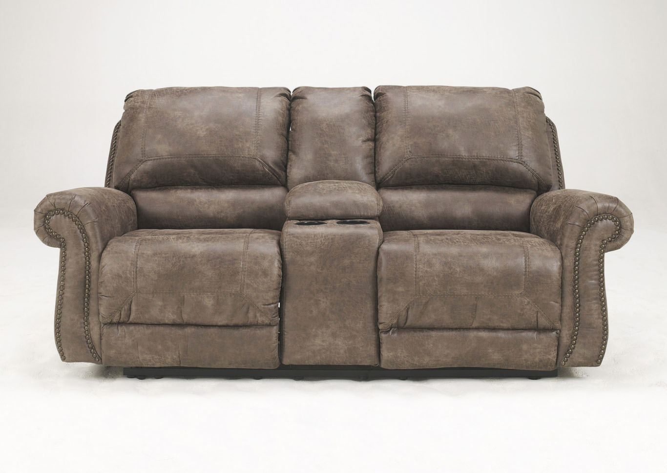 Oberson Gunsmoke Double Reclining Loveseat w/Console,Signature Design By Ashley