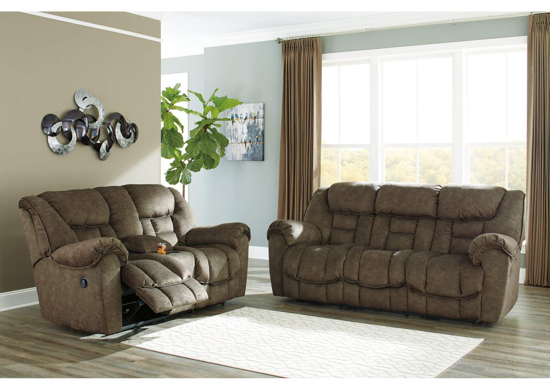Capehorn Earth Reclining Sofa and Loveseat w/Console,Signature Design By Ashley
