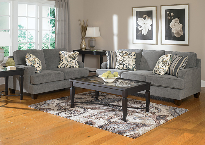 Yvette Steel Sofa & Loveseat,Ashley