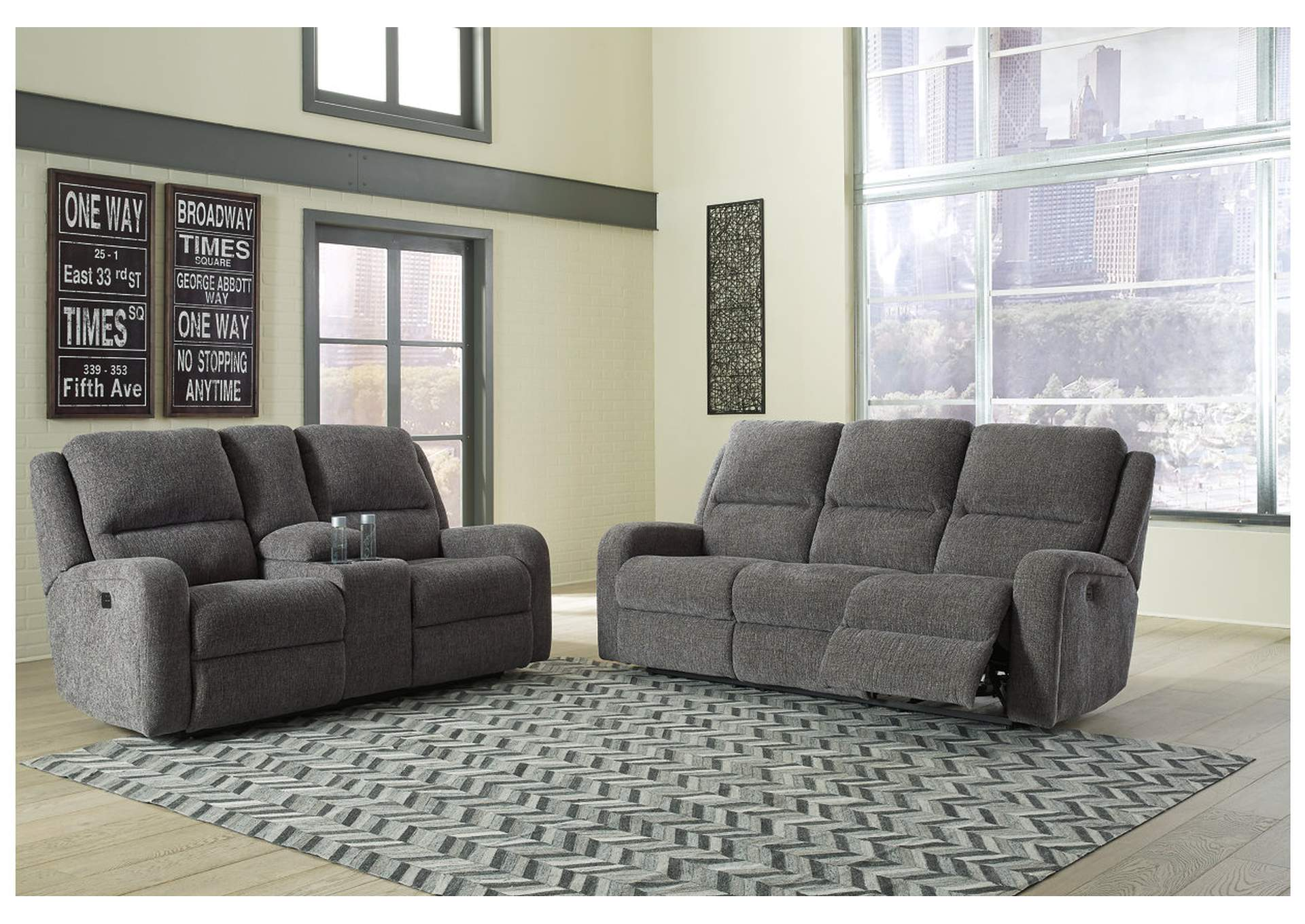 Krismen Charcoal Power Reclining Sofa And Loveseat W/Adjustable  Headrest,Signature Design By Ashley