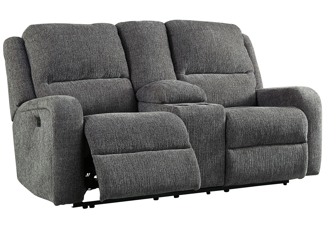 Krismen Charcoal Power Reclining Loveseat,Signature Design By Ashley