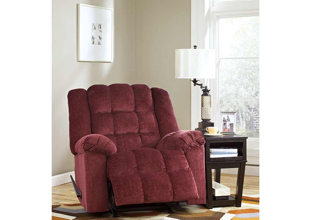 Roses Flooring And Furniture Ludden Burgundy Rocker Recliner