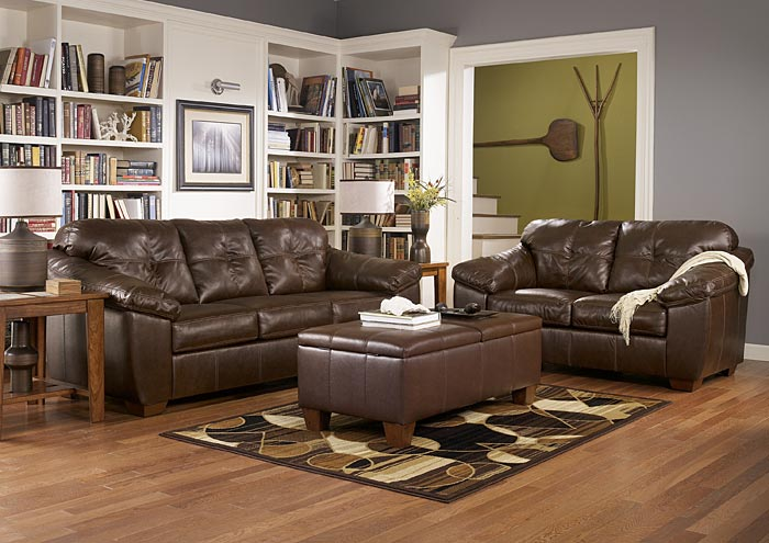 San Lucas Brown Sofa & Loveseat,Ashley